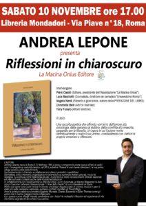 """""""Riflessioni in chiaroscuro"""" di Andrea Lepone; Presentazione libraria"""